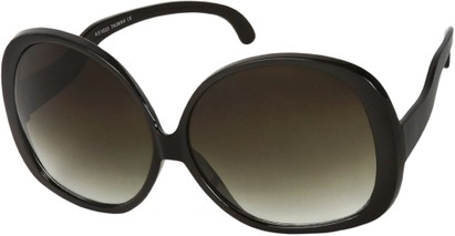 Angle of Cheyenne #9877 in Black Frame with Green Lenses, Women's Round Sunglasses