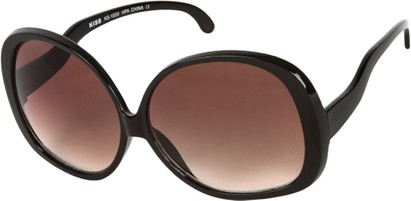 Angle of Cheyenne #9877 in Black Frame with Smoke Lenses, Women's Round Sunglasses