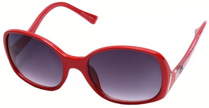 Angle of SW Oversized Style #408 in Red and Silver Frame, Women's and Men's