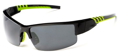 Angle of Dublin #1955 in Black/Green Frame with Smoke Lenses, Women's and Men's Sport & Wrap-Around Sunglasses