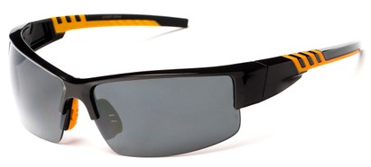 Angle of Dublin #1955 in Black/Orange Frame with Smoke Lenses, Women's and Men's Sport & Wrap-Around Sunglasses