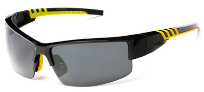 Angle of Dublin #1955 in Black/Yellow Frame with Smoke Lenses, Women's and Men's Sport & Wrap-Around Sunglasses