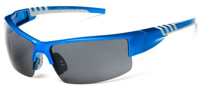 Angle of Dublin #1955 in Blue/Grey Frame with Smoke Lenses, Women's and Men's Sport & Wrap-Around Sunglasses