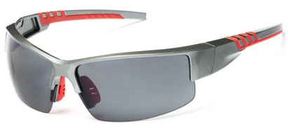 Angle of Dublin #1955 in Grey/Red Frame with Smoke Lenses, Women's and Men's Sport & Wrap-Around Sunglasses