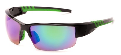Angle of Oasis #1282 in Black/Green Frame with Mirrored Lenses, Men's Sport & Wrap-Around Sunglasses