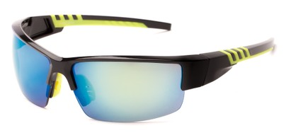 Angle of Oasis #1282 in Black/Yellow Frame with Mirrored Lenses, Men's Sport & Wrap-Around Sunglasses