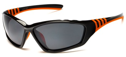 Angle of Supernova #9726 in Black/Orange Frame with Grey Lenses, Women's and Men's Sport & Wrap-Around Sunglasses