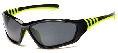 Angle of Supernova #9726 in Black/Green Frame with Grey Lenses, Women's and Men's Sport & Wrap-Around Sunglasses