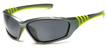 Angle of Supernova #9726 in Grey/Green Frame with Grey Lenses, Women's and Men's Sport & Wrap-Around Sunglasses