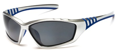 Angle of Supernova #9726 in Silver/Blue Frame with Grey Lenses, Women's and Men's Sport & Wrap-Around Sunglasses