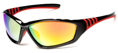 Angle of Yellowstone #1742 in Black/Red Frame with Mirrored Lenses, Men's Sport & Wrap-Around Sunglasses