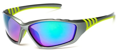 Angle of Yellowstone #1742 in Grey/Green Frame with Mirrored Lenses, Men's Sport & Wrap-Around Sunglasses