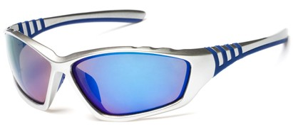 Angle of Yellowstone #1742 in Silver/Blue Frame with Mirrored Lenses, Men's Sport & Wrap-Around Sunglasses