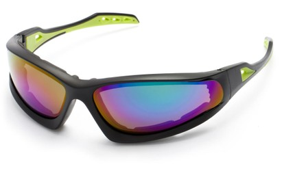 Angle of Athens #8654 in Black/Green Frame with Purple Mirrored Lenses, Men's Sport & Wrap-Around Sunglasses