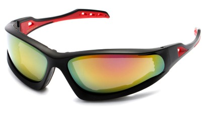 Angle of Athens #8654 in Black/Red Frame with Yellow Mirrored Lenses, Men's Sport & Wrap-Around Sunglasses