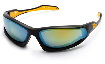 Angle of Athens #8654 in Black/Yellow Frame with Yellow Mirrored Lenses, Men's Sport & Wrap-Around Sunglasses