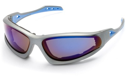 Angle of Athens #8654 in Gray/Blue Frame with Blue Mirrored Lenses, Men's Sport & Wrap-Around Sunglasses