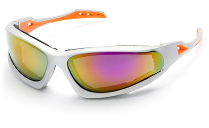 Angle of Athens #8654 in Silver/Orange Frame with Yellow Mirrored Lenses, Men's Sport & Wrap-Around Sunglasses