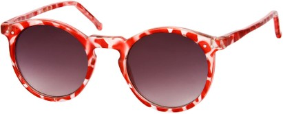 Angle of SW Retro Style #2765 in Red Tortoise Frame with Smoke Lenses, Women's and Men's