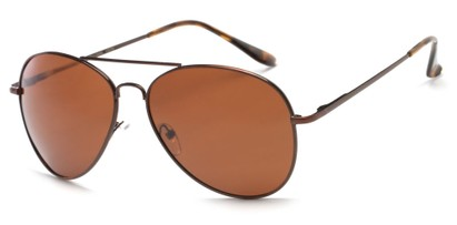 Angle of Frontier #1119 in Matte Bronze/Brown Frame with Brown Lenses, Women's and Men's Aviator Sunglasses