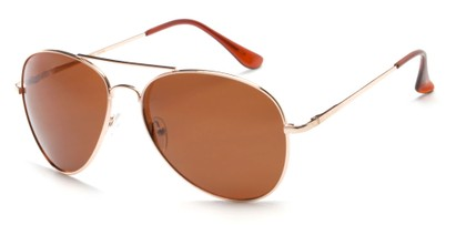 Angle of Frontier #1119 in Glossy Gold Frame with Brown Lenses, Women's and Men's Aviator Sunglasses