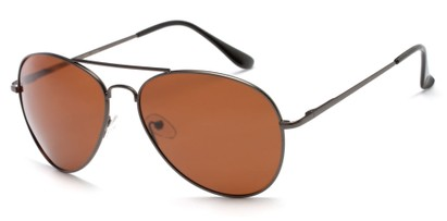 Angle of Frontier #1119 in Matte Grey Frame with Brown Lenses, Women's and Men's Aviator Sunglasses