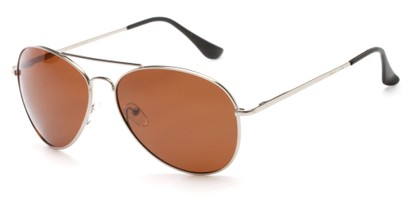 Angle of Frontier #1119 in Glossy Silver Frame with Brown Lenses, Women's and Men's Aviator Sunglasses