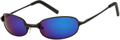 Angle of SW Mirrored Metal Style #9435 in Matte Black Frame with Blue Mirrored Lenses, Women's and Men's