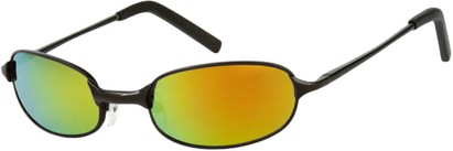 Angle of SW Mirrored Metal Style #9435 in Matte Black Frame with Orange Mirrored Lenses, Women's and Men's