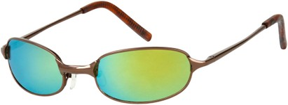 Angle of SW Mirrored Metal Style #9435 in Glossy Bronze Frame with Yellow Mirrored Lenses, Women's and Men's