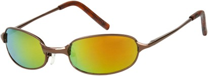 Angle of SW Mirrored Metal Style #9435 in Glossy Bronze Frame with Orange Mirrored Lenses, Women's and Men's