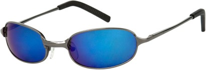 Angle of SW Mirrored Metal Style #9435 in Glossy Grey Frame with Blue Mirrored Lenses, Women's and Men's