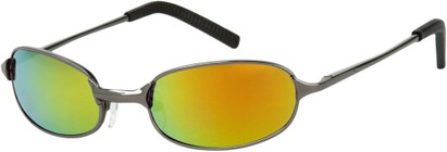 Angle of SW Mirrored Metal Style #9435 in Glossy Grey Frame with Orange Mirrored Lenses, Women's and Men's
