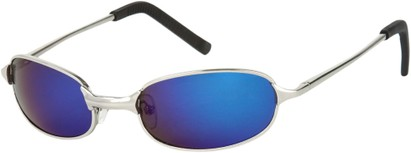 Angle of SW Mirrored Metal Style #9435 in Glossy Silver Frame with Blue Mirrored Lenses, Women's and Men's