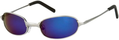 Angle of SW Mirrored Metal Style #9435 in Matte Silver Frame with Blue Mirrored Lenses, Women's and Men's