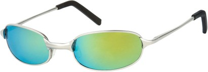 Angle of SW Mirrored Metal Style #9435 in Matte Silver Frame with Yellow Mirrored Lenses, Women's and Men's