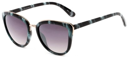 Angle of Darling #3966 in Black/Teal Stripe Frame with Grey Lenses, Women's Cat Eye Sunglasses