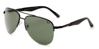 Angle of Denali #1165 in Black Frame with Green Lenses, Women's and Men's Aviator Sunglasses