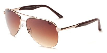 Angle of Denali #1165 in Gold Frame with Gold Lenses, Women's and Men's Aviator Sunglasses