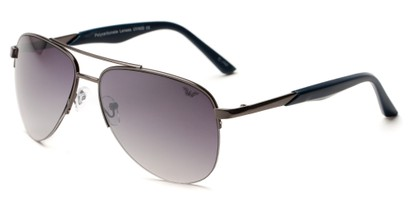 Angle of Denali #1165 in Grey Frame with Smoke Lenses, Women's and Men's Aviator Sunglasses