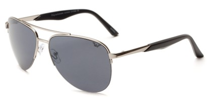 Angle of Denali #1165 in Silver Frame with Grey Lenses, Women's and Men's Aviator Sunglasses