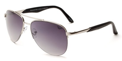 Angle of Denali #1165 in Silver Frame with Smoke Lenses, Women's and Men's Aviator Sunglasses