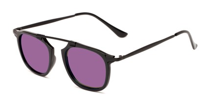 Angle of Rosco #8248 in Black Frame with Purple Mirrored Lenses, Women's and Men's Round Sunglasses