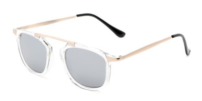 Angle of Rosco #8248 in Clear Frame with Silver Mirrored Lenses, Women's and Men's Round Sunglasses