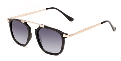 Angle of Rosco #8248 in Black Frame with Smoke Lenses, Women's and Men's Round Sunglasses