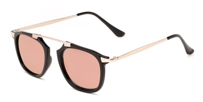 Angle of Rosco #8248 in Black Frame with Pink/Yellow Mirrored Lenses, Women's and Men's Round Sunglasses