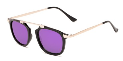 Angle of Rosco #8248 in Black/Gold Frame with Purple Mirrored Lenses, Women's and Men's Round Sunglasses