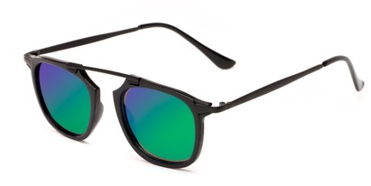 Angle of Rosco #8248 in Black Frame with Green/Purple Mirrored Lenses, Women's and Men's Round Sunglasses