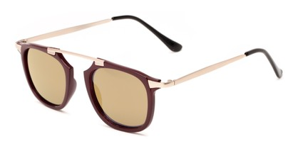 Angle of Rosco #8248 in Red Frame with Gold Mirrored Lenses, Women's and Men's Round Sunglasses