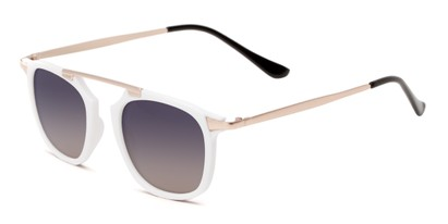 Angle of Rosco #8248 in White Frame with Smoke Lenses, Women's and Men's Round Sunglasses